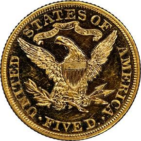 1907 $5 PF reverse