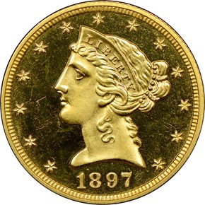 1897 $5 PF obverse