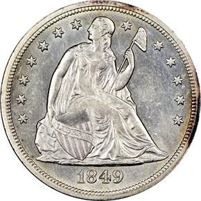 1849 $1 MS obverse