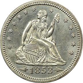 1853 ARROWS & RAYS 25C MS obverse