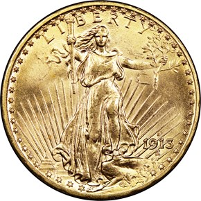 1913 D $20 MS obverse