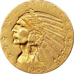 1909 O $5 MS obverse