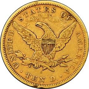 1869 S $10 MS reverse