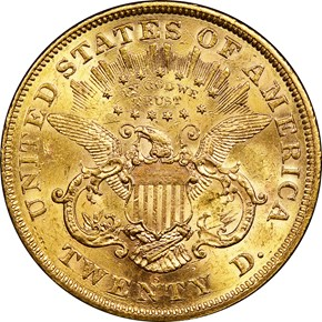 1875 S $20 MS reverse
