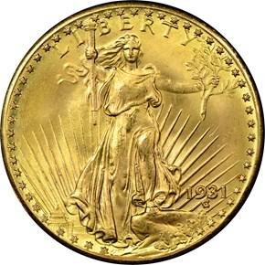 1931 $20 MS obverse