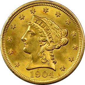 1904 $2.5 MS obverse
