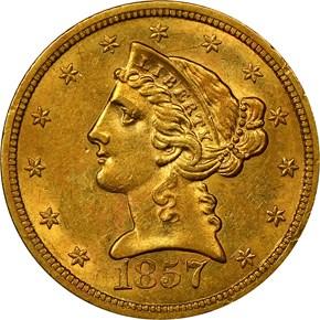 1857 S $5 MS obverse