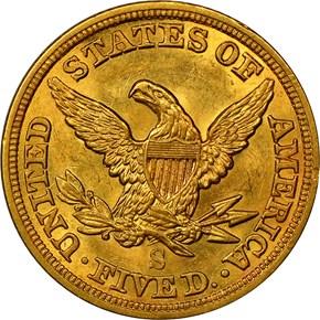 1857 S $5 MS reverse