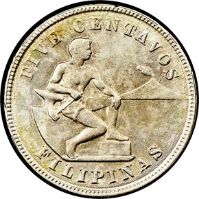 1918 S USA-PHIL MULED WITH 20C REVERSE 5C MS obverse
