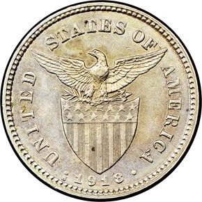 1918 S USA-PHIL MULED WITH 20C REVERSE 5C MS reverse
