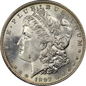 1892 $1 MS obverse