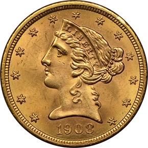 1908 LIBERTY $5 MS obverse