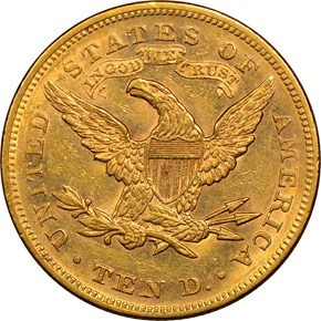 1868 $10 MS reverse
