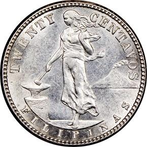 1908 S USA-PHIL 20C MS obverse