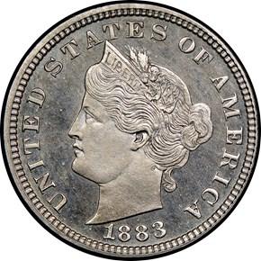 1883 J-1707 5C PF obverse