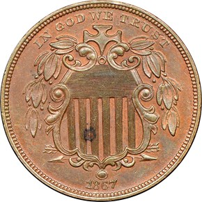 1867 J-573a 5C PF obverse