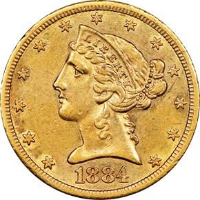 1884 CC $5 MS obverse