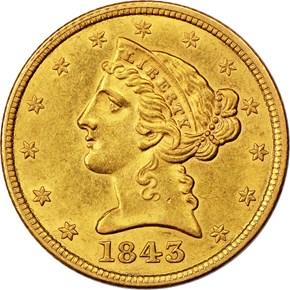 1843 $5 MS obverse