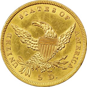 1838 $5 MS reverse