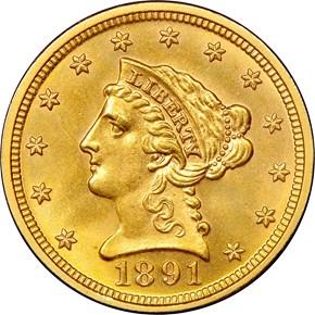1891 DOUBLED DIE REV $2.5 MS obverse