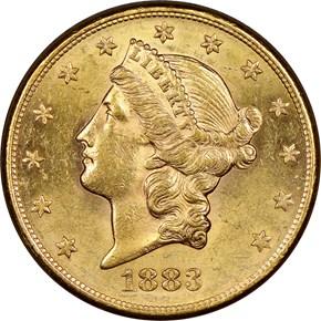 1883 S $20 MS obverse