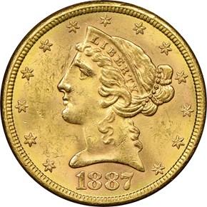1887 S $5 MS obverse
