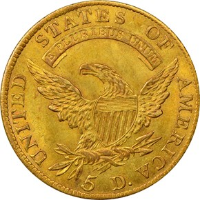 1810 LG DATE LARGE 5 BD-4 $5 MS reverse