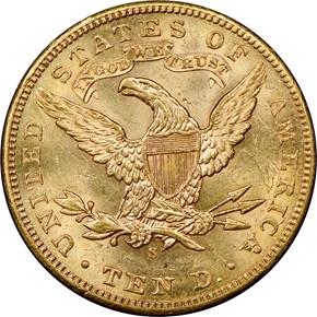 1905 S $10 MS reverse