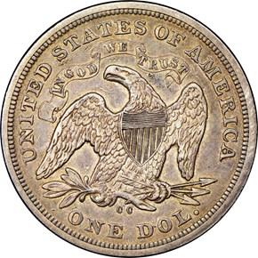 1872 CC $1 MS reverse