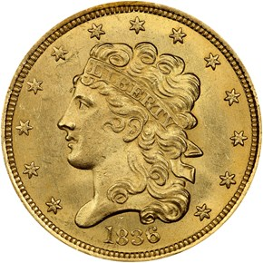 1836 $5 MS obverse