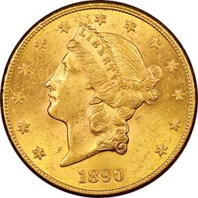 1890 CC $20 MS obverse