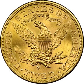 1903 S $5 MS reverse