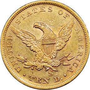 1854 S $10 MS reverse