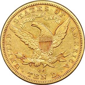 1882 CC $10 MS reverse