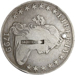 (1808) NEWPORT R-E-RI-11 ON 1799 $1 RI MS obverse