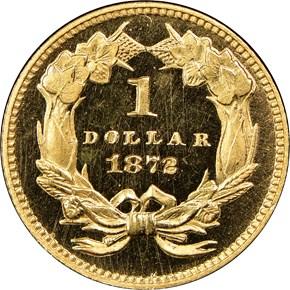1872 G$1 PF reverse