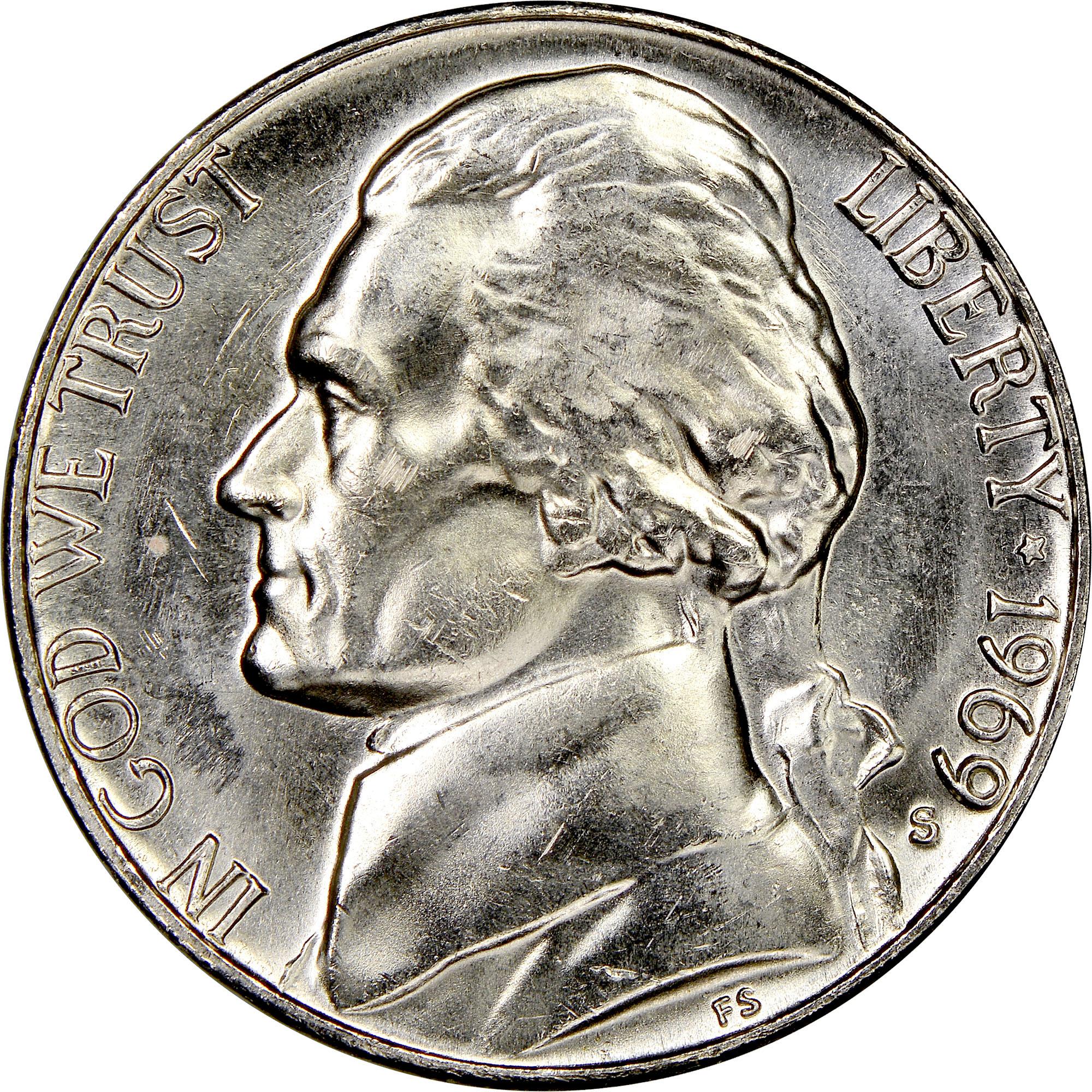1969 S 5C MS Jefferson Five Cents | NGC