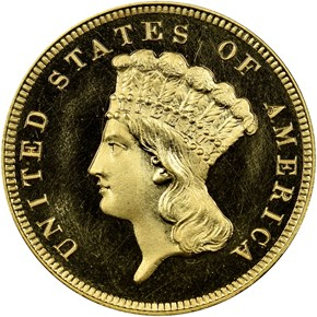 1887 $3 PF obverse