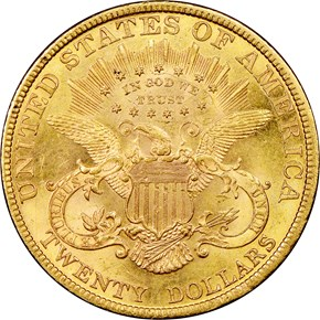 1892 $20 MS reverse
