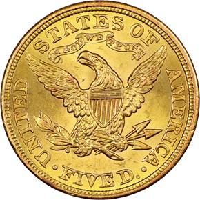 1908 LIBERTY $5 MS reverse