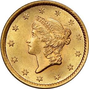 1854 TYPE 1 G$1 MS obverse