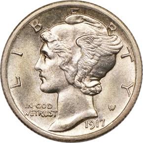 1917 D 10C MS obverse