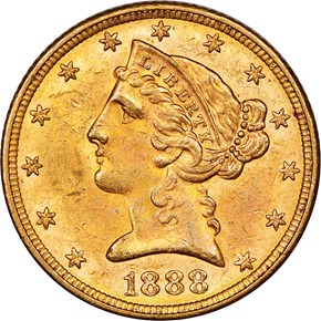 1888 $5 MS obverse
