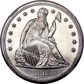1863 $1 MS obverse