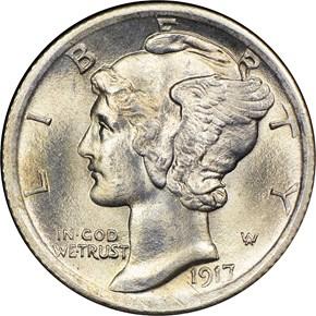 1917 10C MS obverse