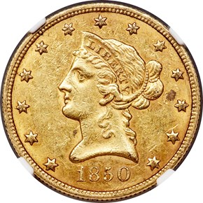 1850 SMALL DATE $10 MS obverse
