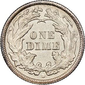 1869 S 10C MS reverse