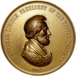 1862-DATED BRONZE ABRAHAM LINCOLN 76mm MS obverse