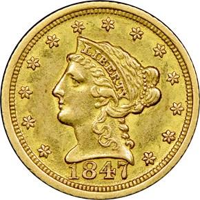 1847 D $2.5 MS obverse