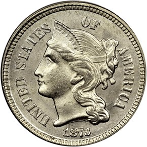 1873 OPEN 3 3CN MS obverse